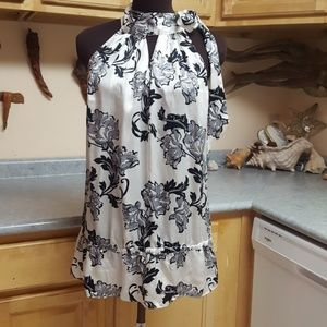 White House Black Market 100% Silk Blouse L